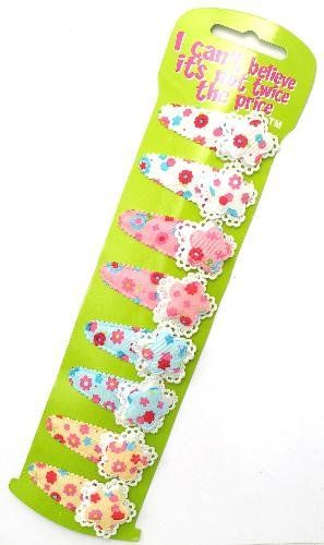 8 Fabric Flower Hair Clips Grips Slides Snap on Clips